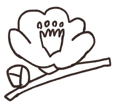 椿のイラスト(花) モノクロ線画