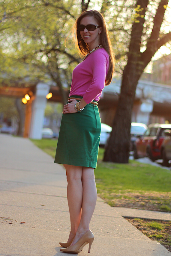 Emerald Green Skirt, Pink Sweater, Tan | StyleSidebar