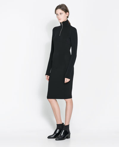 kollu boğazlı elbise