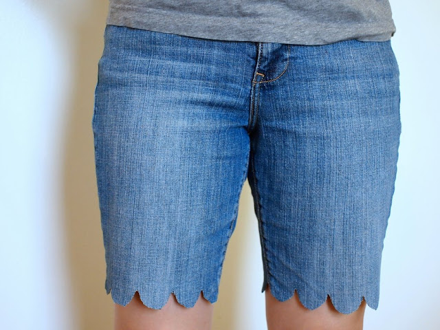 how to make scalloped jean shorts