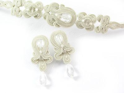 biżuteria ślubna, biały, kryształowy, kryształy, ivory, śmietankowy, komplet ślubny, do ślubu, sutasz, sutaszowa, soutache, PiLLow Design, Małgorzata Sowa