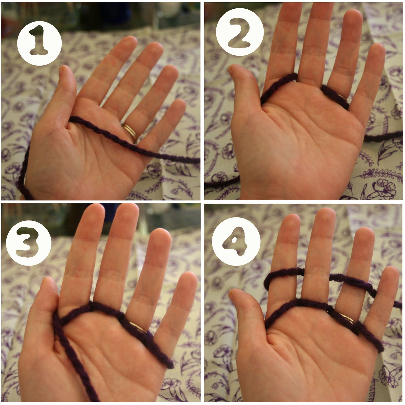 Knitting With Hands Only : Quot lines across finger knitting tutorial