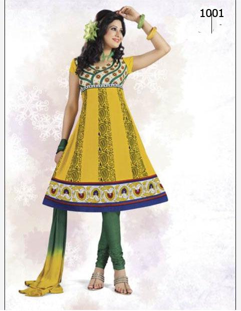 Designer Anarkali Pure Cotton salwar suit with chiffon dupatta