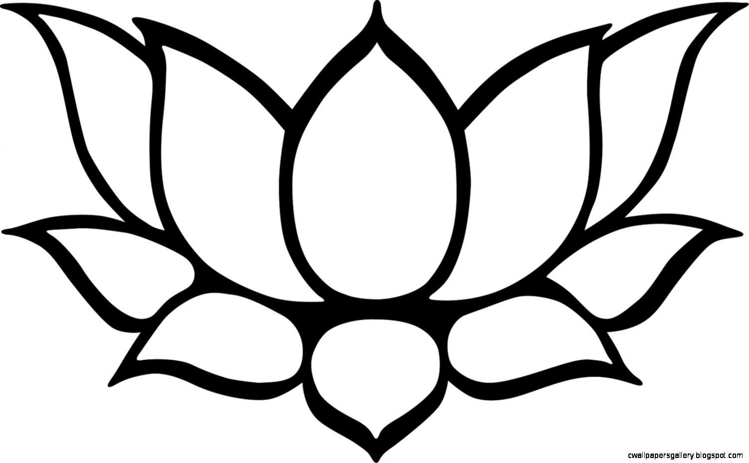 Clip Art Black And White Lotus Flower Clipart   Clipart Kid