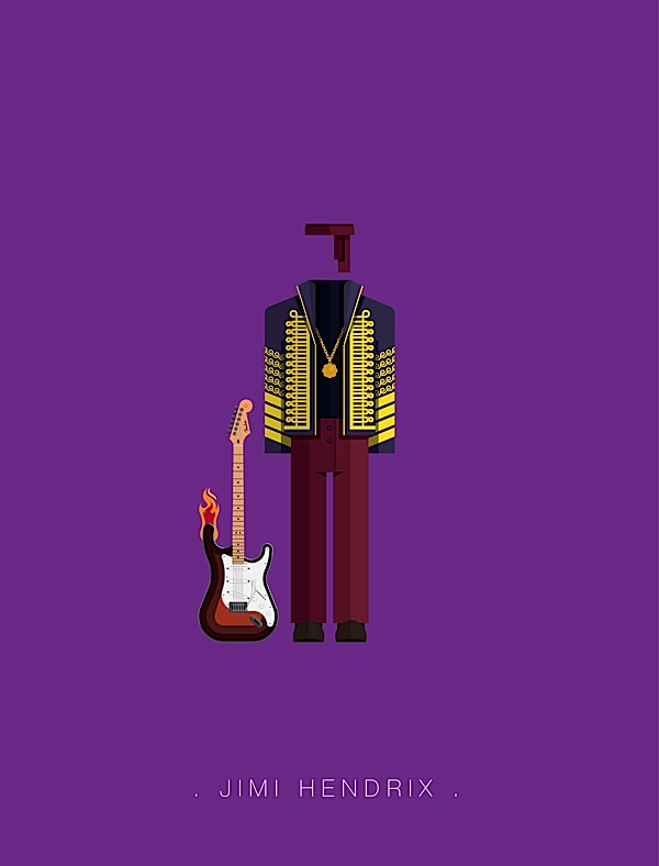 Jimi Hendrix flat illustration