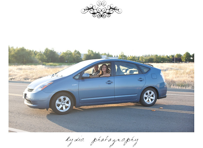 Lifestyle maternity portraits in Prius at William Jessup University in Rocklin, California