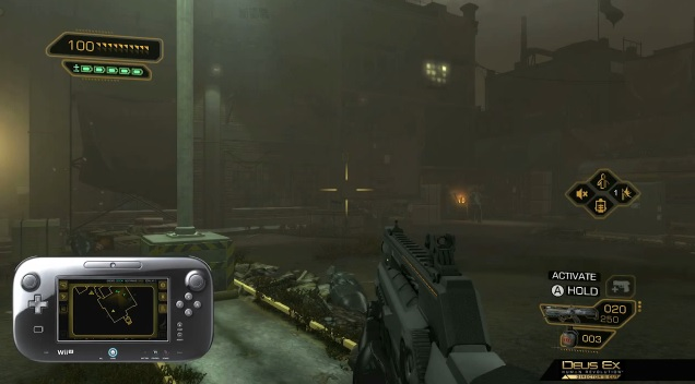 Screenshot of FEMA Camp level in Wii U version of Deus Ex: Human Revolution