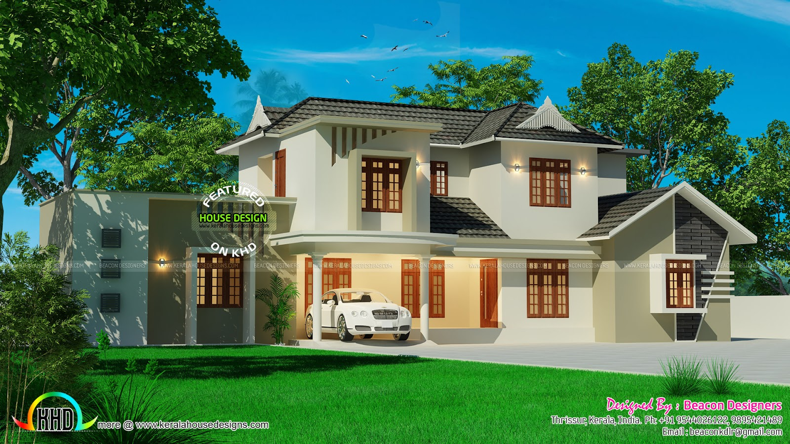 Beautiful sloped roof residence kerala home design and for Attractive home designs