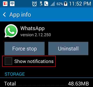 Disable application notification from settings