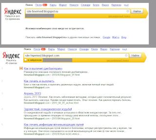 Выдача Яндекса на домен blogspot.com