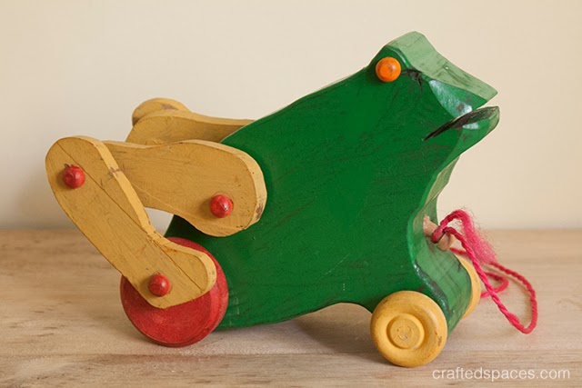 Crafted spaces thrift store find vintage wooden frog toy