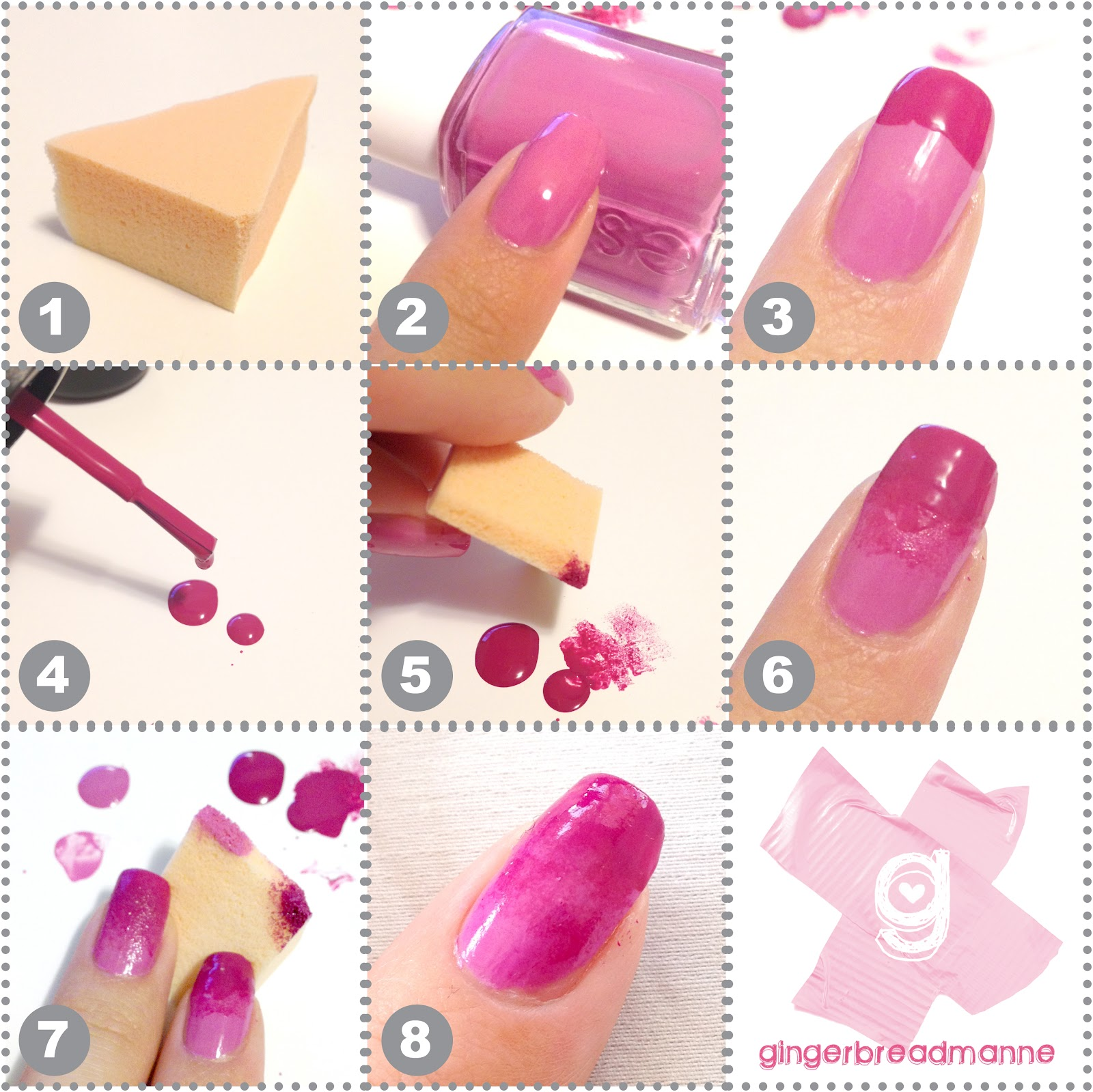 Gingerbreadmanne sponge nail art mini tutorial for gradient nails i like to cut up my make up sponge into smaller bits so im not wasting it im pretty sure that kitchen sponges would also be fine prinsesfo Image collections