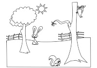 Rabbit, squirrel, and woodpecker in farm animals coloring book by Robert Aaron Wiley for Microsoft Office Online