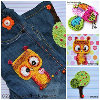 crochet owl, tree and mushroom appliqués
