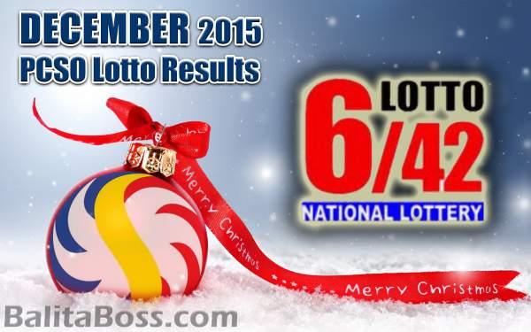 Image: December 2015 Lotto 6/42 PCSO Lotto Results