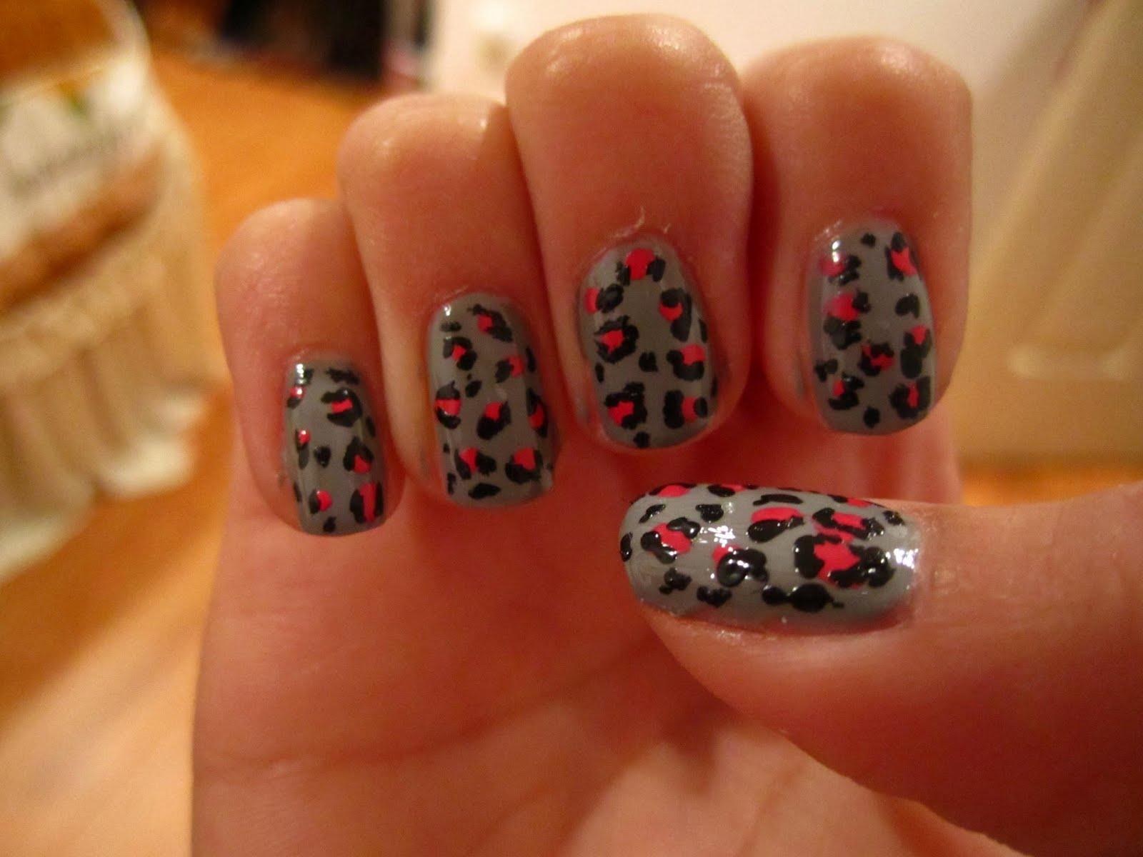Pink cheetah nail designs