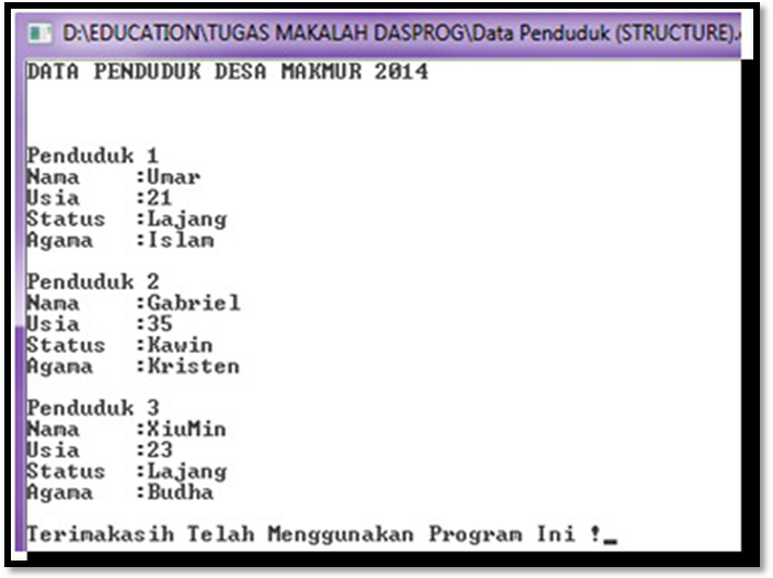 Contoh Program Array dan Structure C++ Data Penduduk