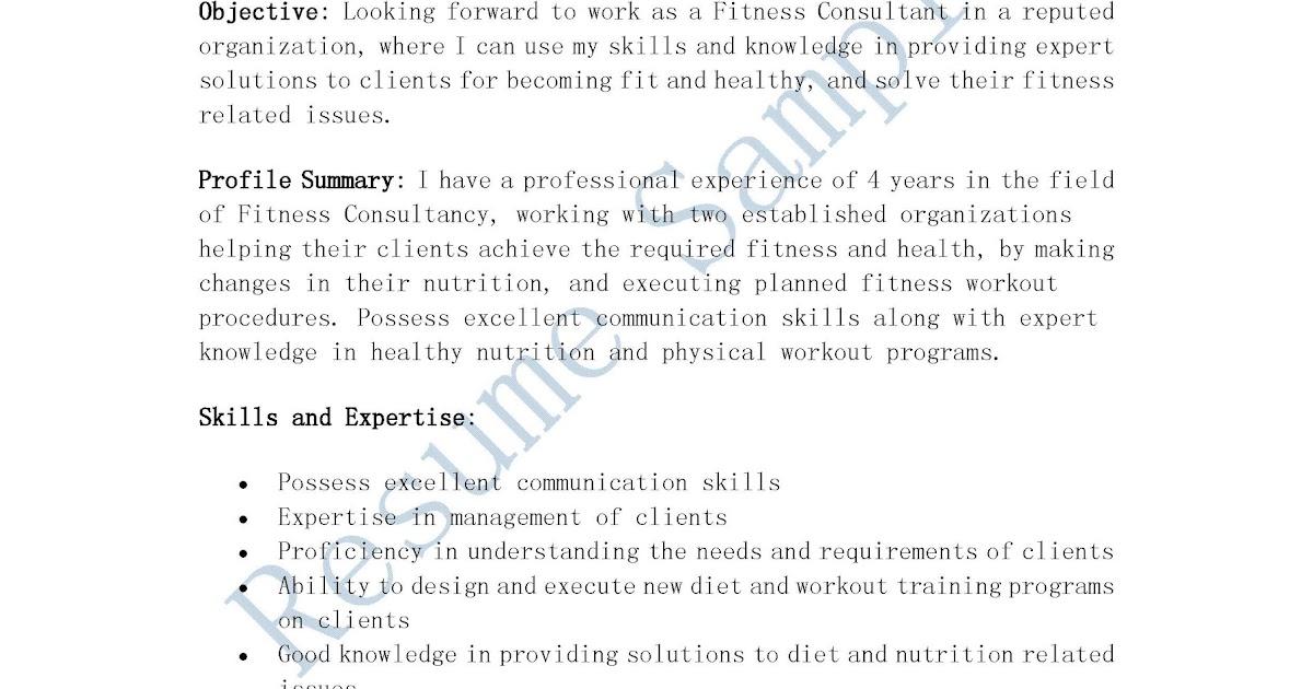 fitness consultant description resume 28 images resume