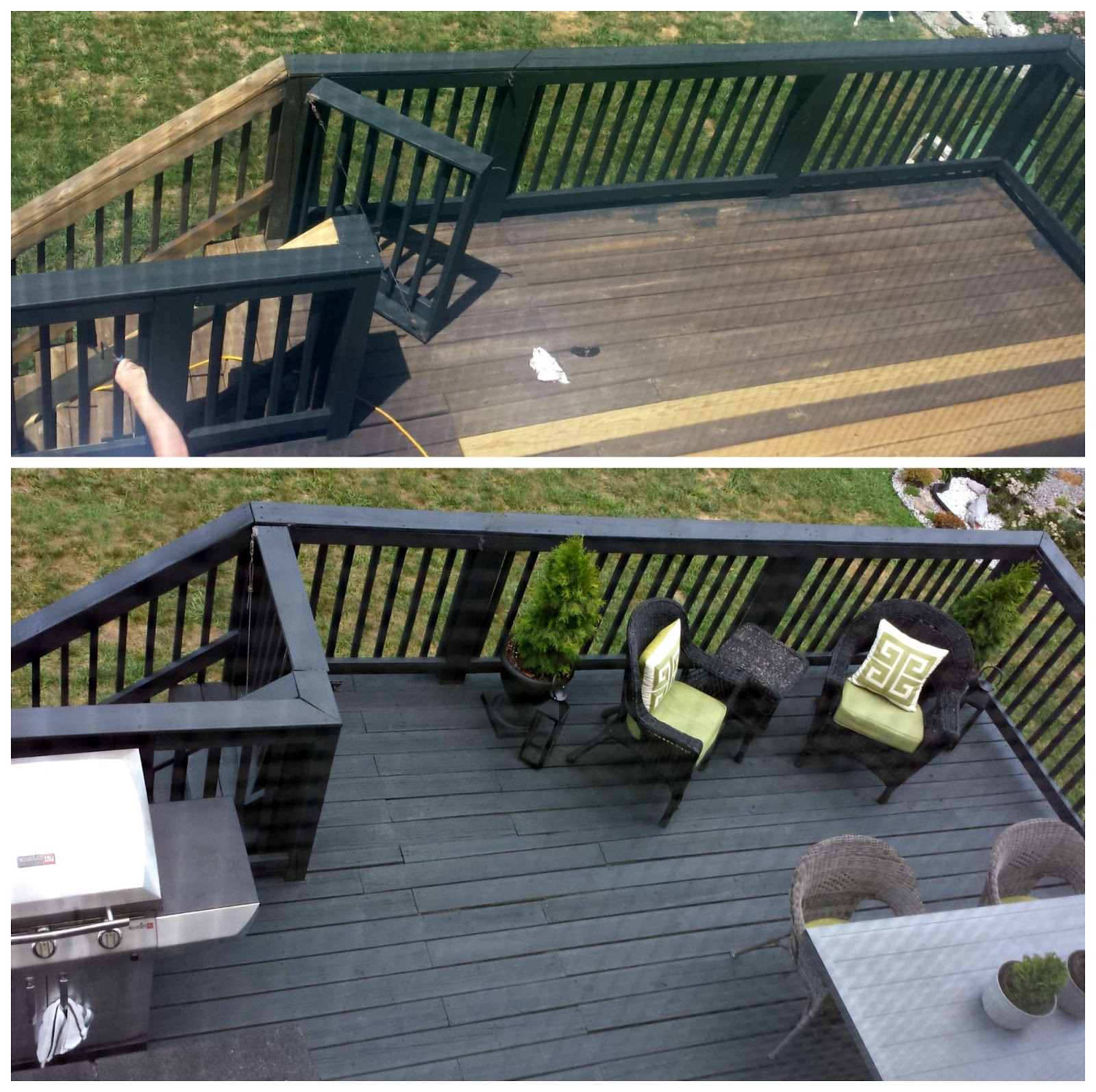 FOCAL POINT STYLING Before After Black Slate Stain Deck Repair