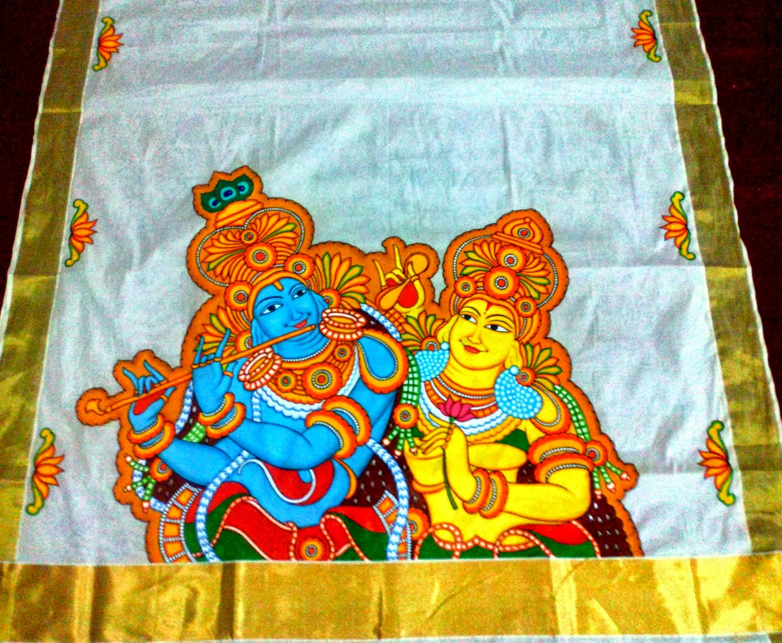 Ladies apparels kochi mural painted sarees at kochi for Aithihya mural painting fabrics