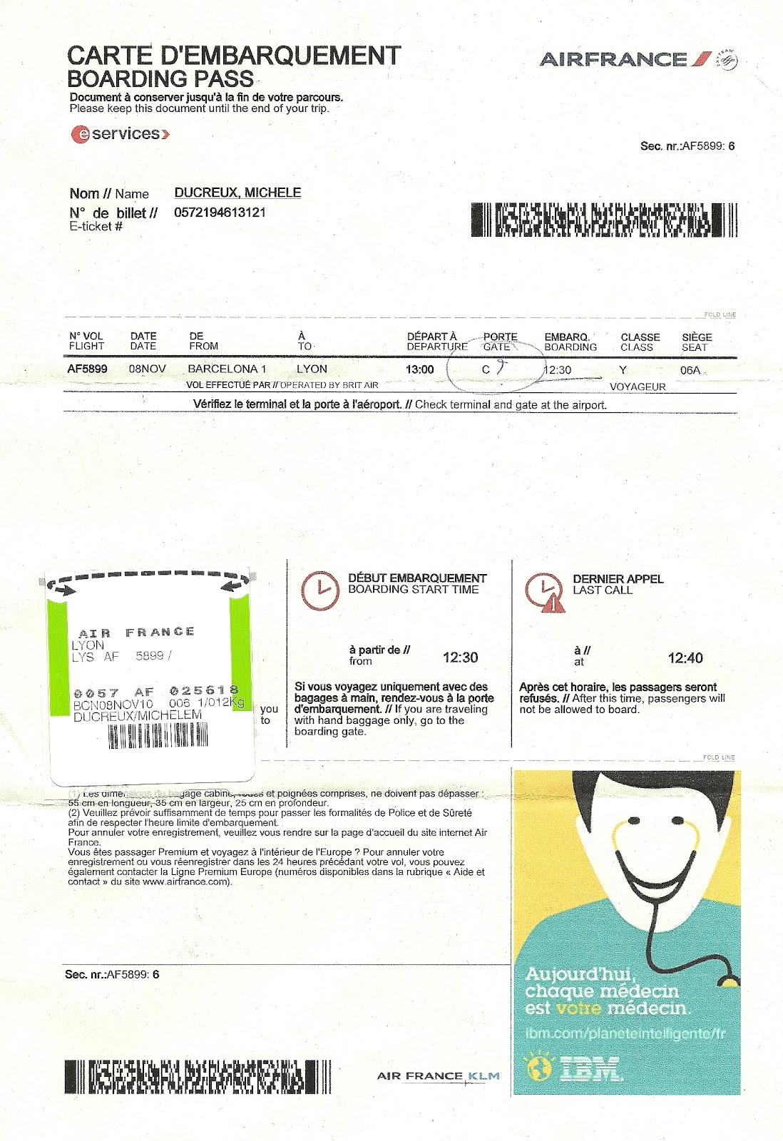 The traveler's drawer: AIR FRANCE. Carte d'embarquement éléctronique pour le vol AF5899 de ...