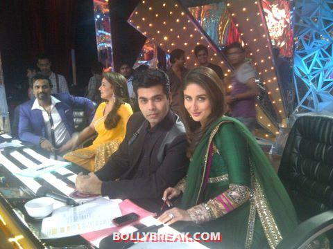 Kareena with karan johar - (2) -  Kareena Kapoor promotes Heroine at Jhalak Dikhla Jaa