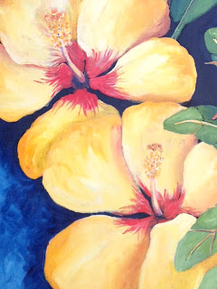 Hibiscus detail of Birds and Biscus painting by Pamela Hunt Lee