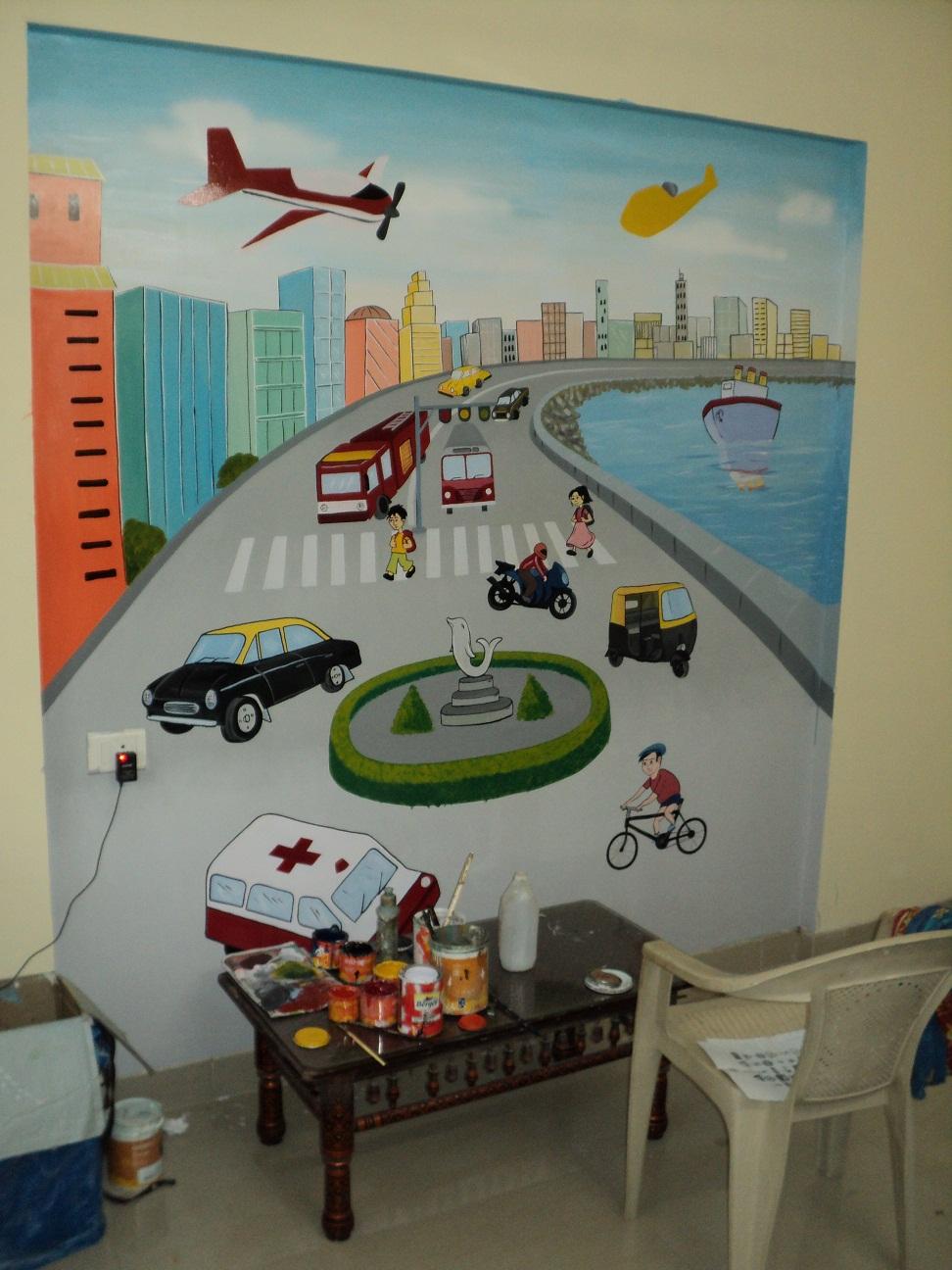 School kids classroom wall murals thana for Classroom wall mural