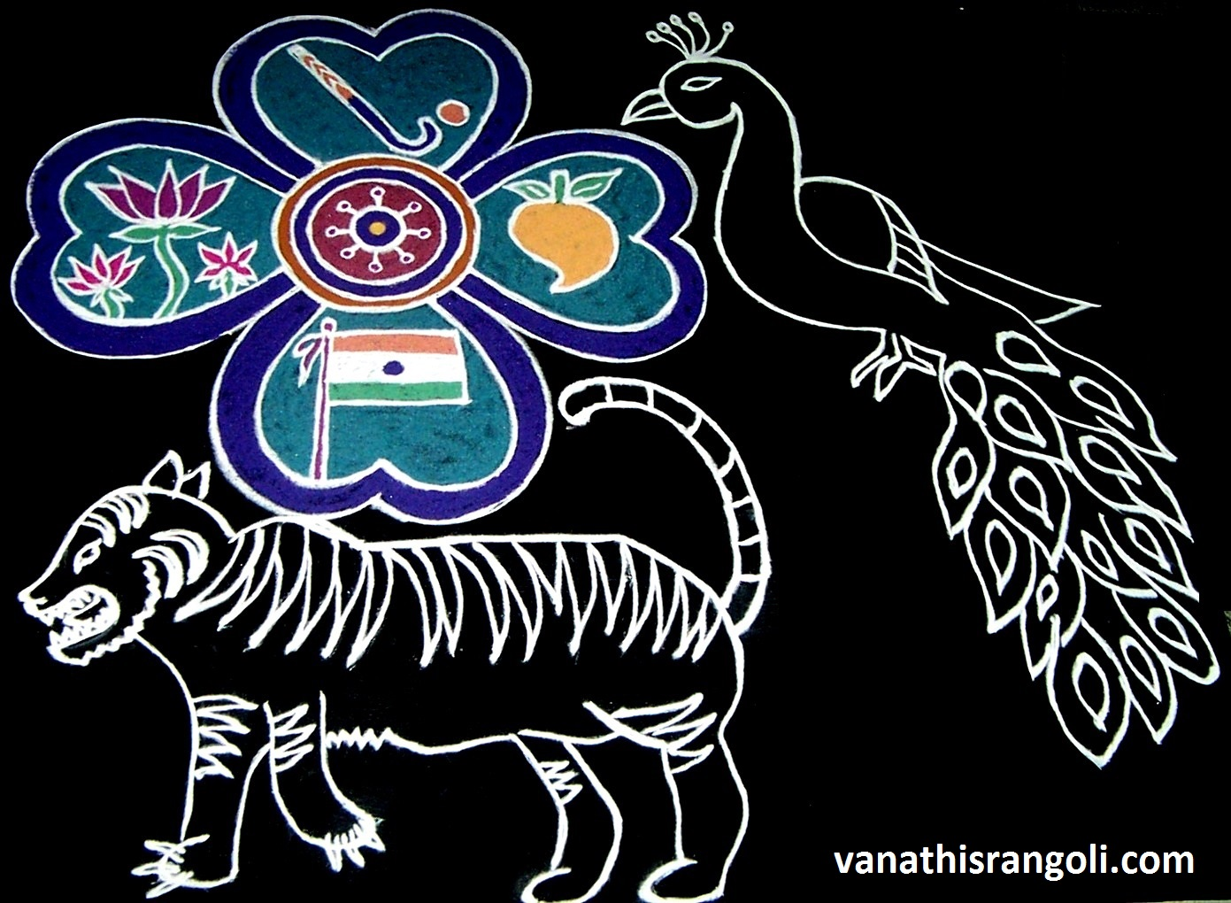 Vanathis rangoliartcrafts indian republic day rangoli peacock was adopted as the national bird of india in 1963 the peacock has a very significant role in the indian culture and is considered to represent biocorpaavc