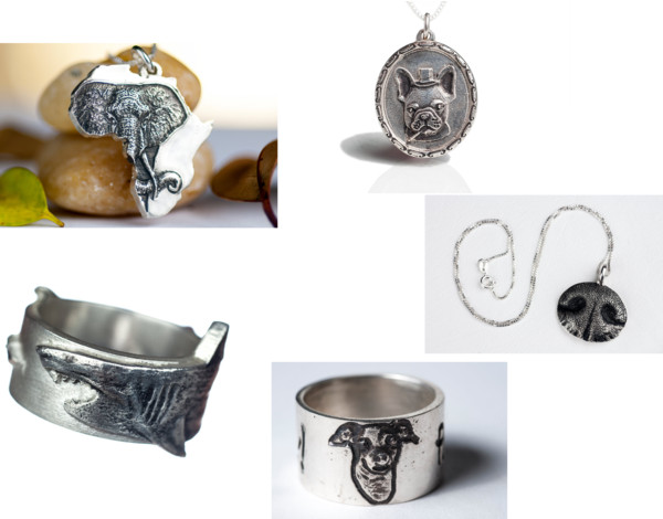 Etsy wish list, wishlist, carved silver jewelry, silver jewellery, animal imprint jewelry, rings, necklace, dog, shark, elephant, Africa shaped, rockmyworldinc, French bulldog smoking, A Coin For the Well