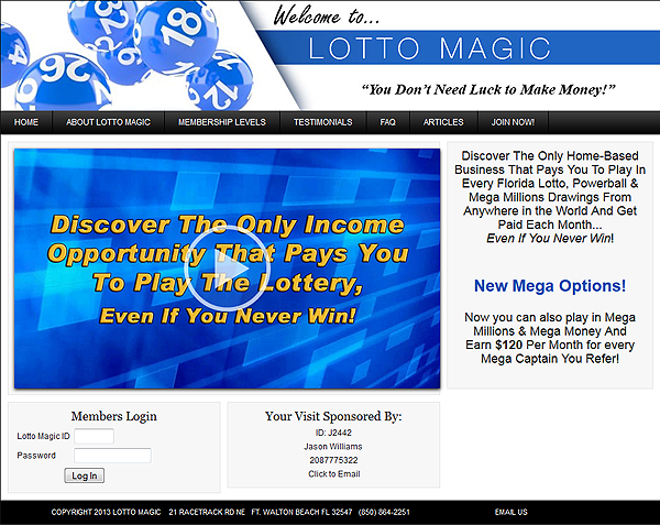 Get your free Florida Lotto Magic marketing website when you join us!