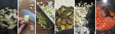 Zubereitung Bhaji mit Aubergine, Zucchini, Karotten und Kartoffeln