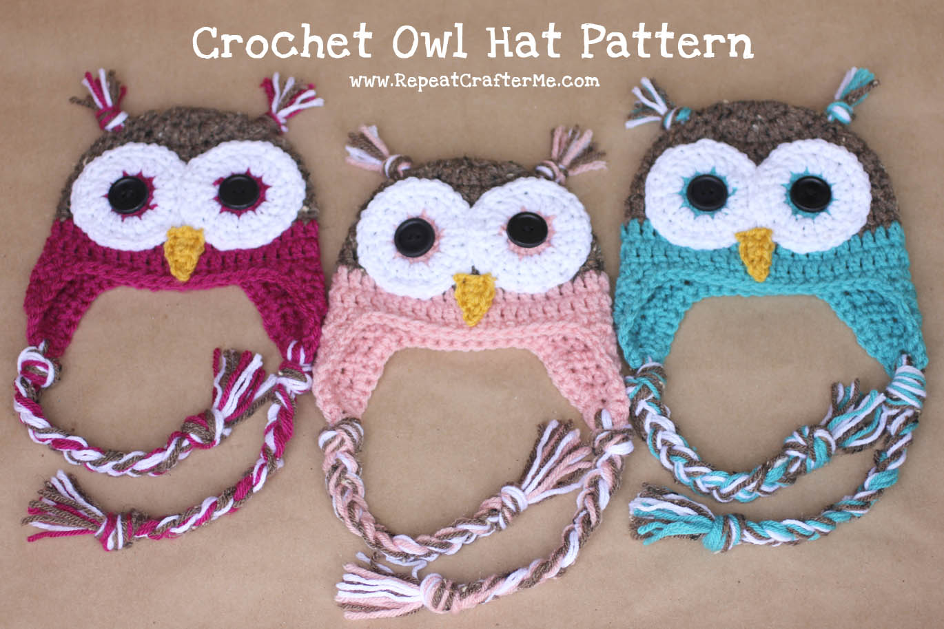 Crochet Pattern For Newborn Owl Hat : Crochet Owl Hat Pattern - Repeat Crafter Me