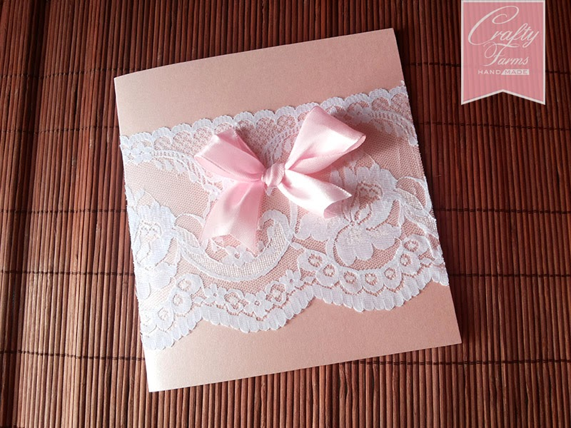 Sweet Pink Ribbon with Lace Wedding Card Malaysia