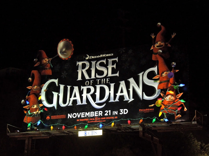 Rise of the Guardians Christmas lights billboard installation