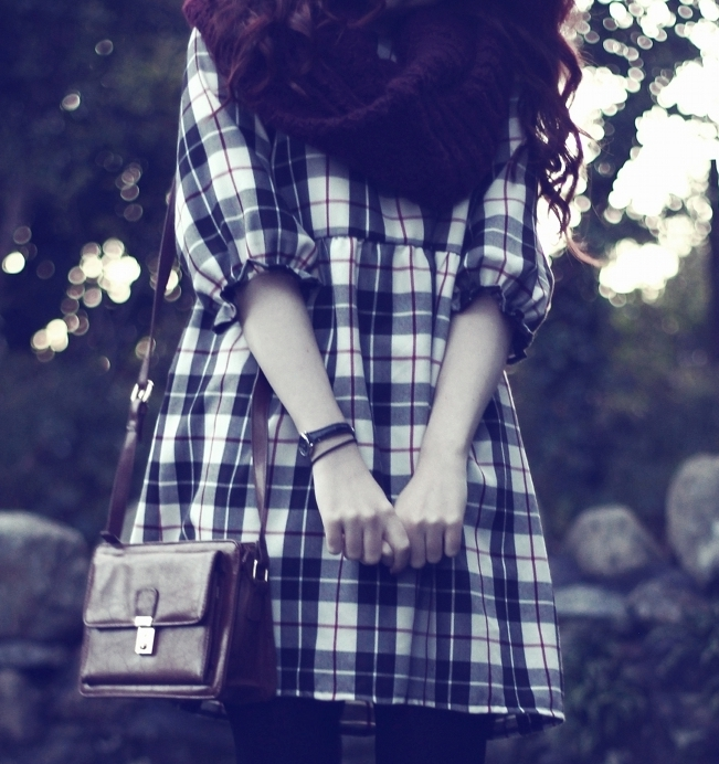 Burgundy Circle Scarf and Tartan Dress