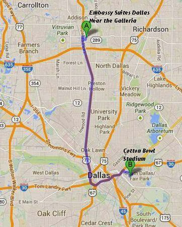 Embassy Suites Dallas Near the Galleria is 16 miles/23 minutes from Cotton Bowl Stadium