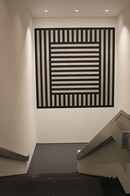 Photograph taken by Robin Peters of the interior of Figge Museum. Stairs leading down.