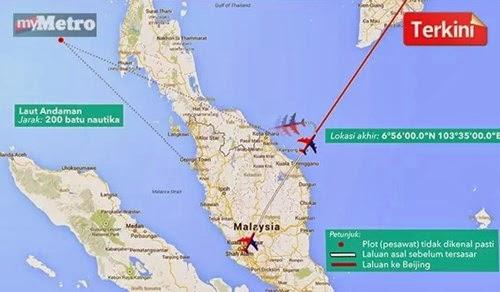 Titik misteri dalam radar TUDM adalah pesawat MH370