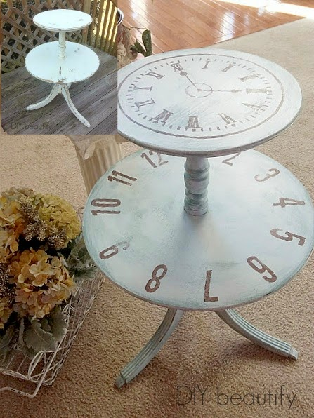 Transform a round table with a painted clock face! See more at DIY beautify