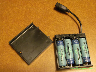 USB AA Battery Pack, Shown With Tenergy Ni-Mh Rechargeable Batteries