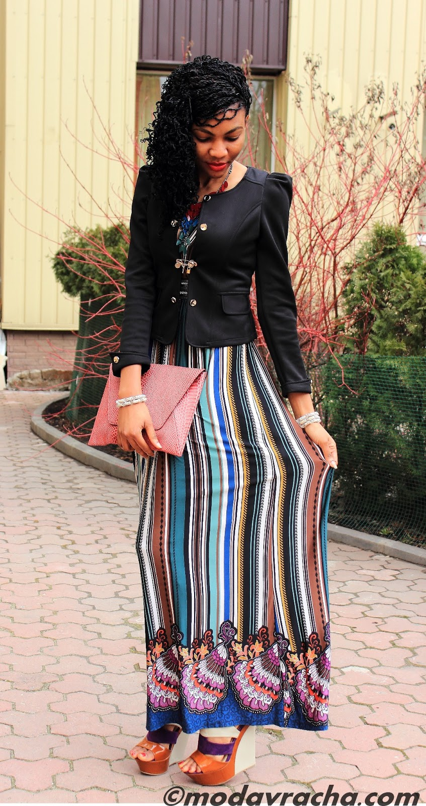 Nigerian fashion blogger modavracha in maxi dress and multicolor wedges
