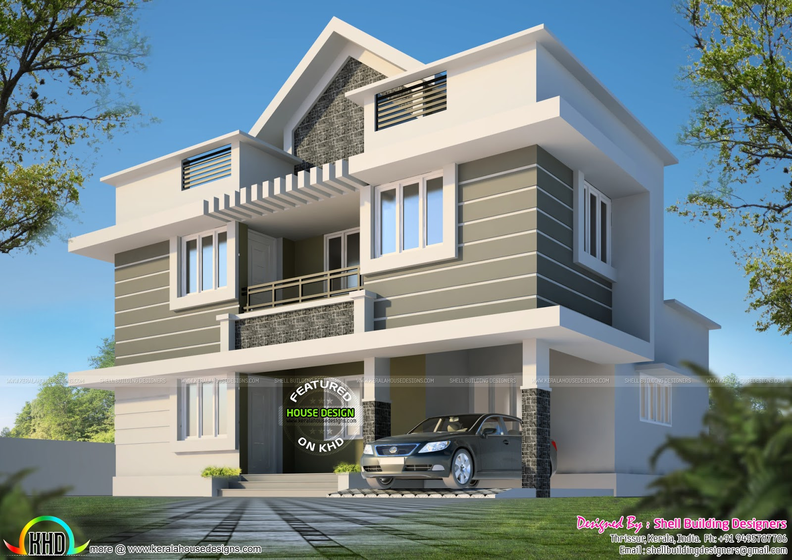 1530 square feet 3 bhk house plan kerala home design and for Plan of 3bhk house