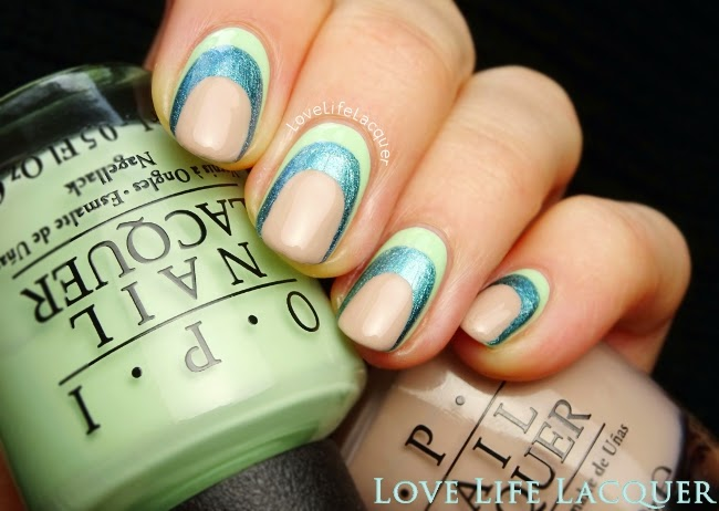 Love life lacquer opi hawaii ruffian nail art as a base aka my first colour i applied opi thats hula rious a gorgeous minty green on my entire nail next i chose opi this colors making waves prinsesfo Images