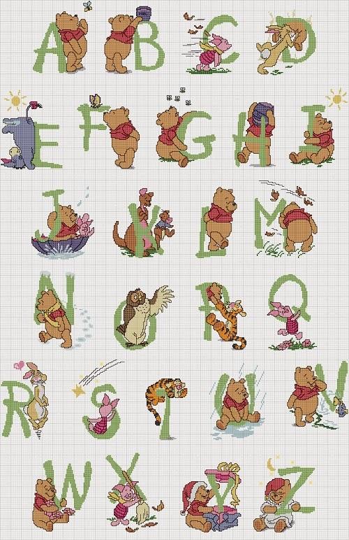Professione donna schemi per il punto croce alfabeto con for Winnie the pooh punto croce
