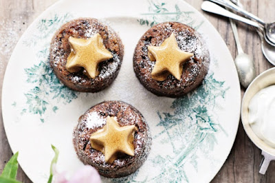 Prune & armagnac puddings with cinnamon stars Recipe