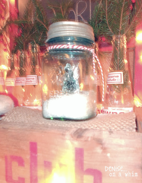 Bell jar with snow and bottle brush tree via http://deniseonawhim.blogspot.com