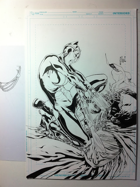 CATWOMAN #10 cover: sketches, pencils, inks by Guillem March
