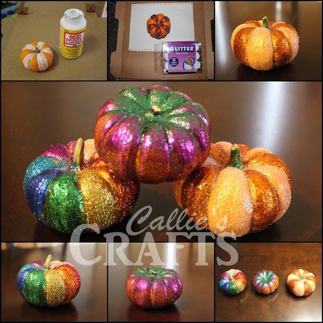 glitter pumpkins, elmers glue, mod podge