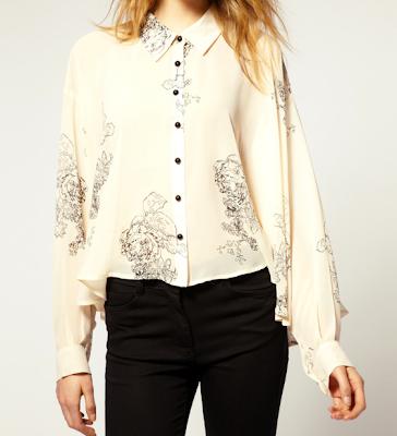 ASOS Villa floral chiffon shirt blouse
